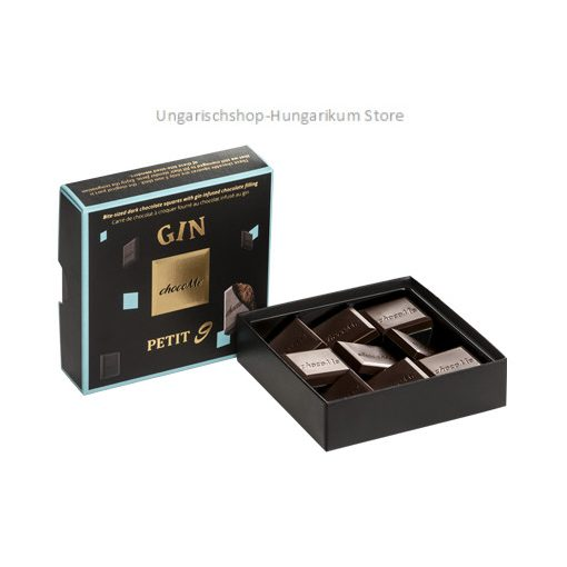 chocoMe Bite-sized dark chocolate squares with gin flavoured chocolate filling